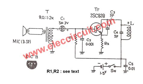 fm transmitter with single transistor 1 5v fm transmitter circuit 88 108mhz eleccircuit