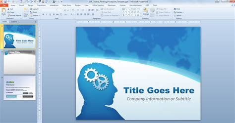 design template powerpoint 2010 free creative thinking powerpoint template