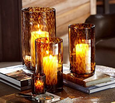 tortoiseshell glass hurricane pottery barn