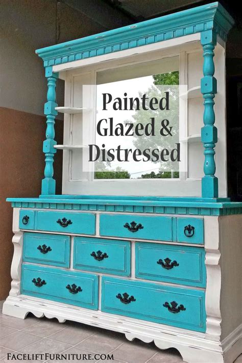 Distressed Turquoise Furniture by Distressed Turquoise White Dresser With Mirror Hutch Facelift Furniture