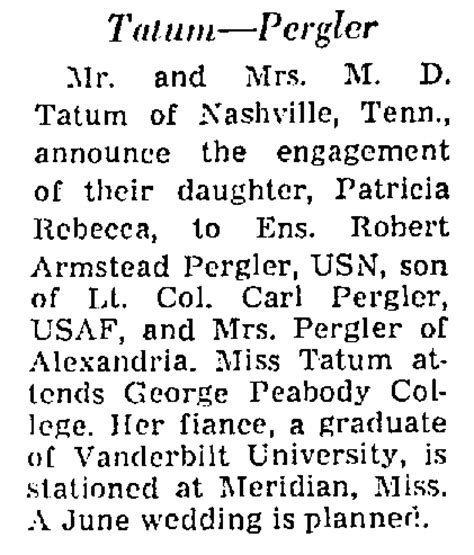 washington post wedding announcements pergler family history robert armstead pergler 1947