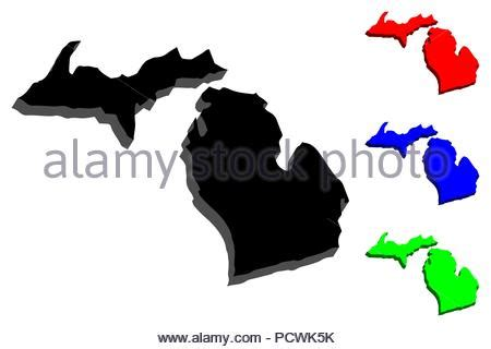 3d map of michigan (united states of america, the great