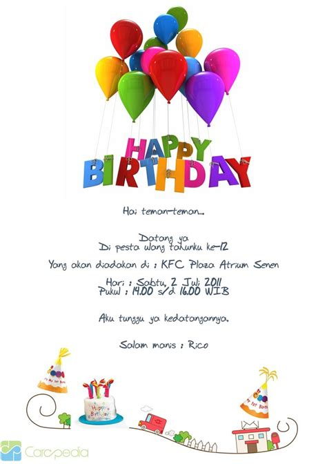 Contoh Invitation Letter Tentang Birthday Contoh Invitation Birthday