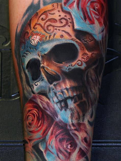 colored skull tattoo real photo pictures images and