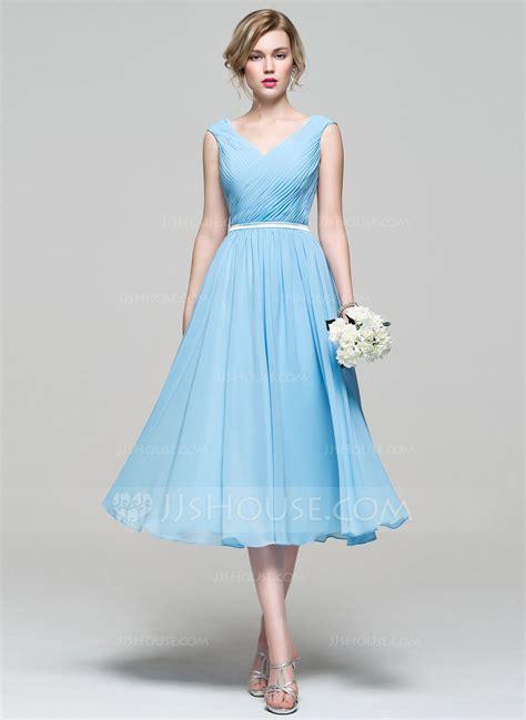 Length Wedding Dresses by A Line Princess V Neck Tea Length Chiffon Bridesmaid Dress