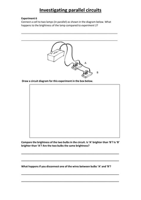 parallel circuits ks3 worksheet series and parallel circuits by rct43 teaching resources tes
