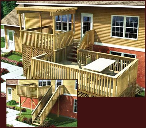split level deck plans project plan 90006 modular split level deck