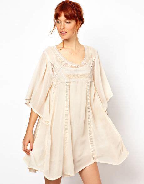 beige swing dress ganni broderie detailed swing dress in beige
