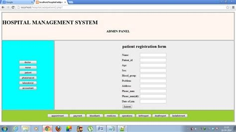 form design for hospital management system health care management system project report free