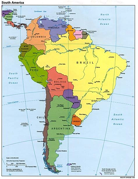 south america political map with major cities map page of south america