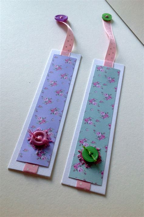 Handmade Bookmark Designs - bookmarks set of two shabby chic style handmade folksy