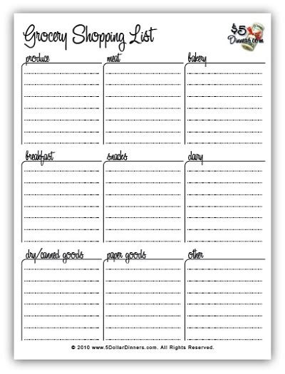 printable shopping list organizer free printable meal planners and grocery shopping lists