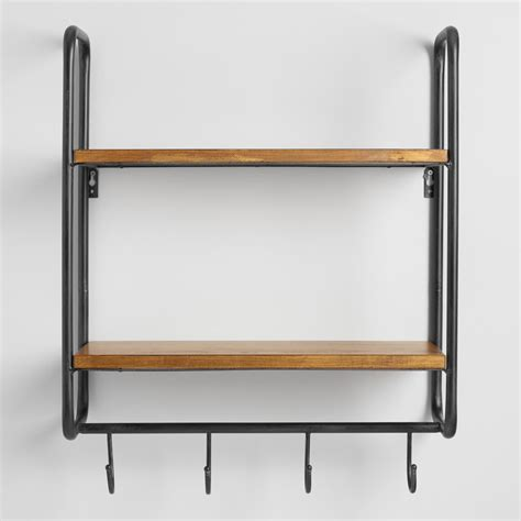 wall shelf metal and wood skyler 2 shelf wall storage world market