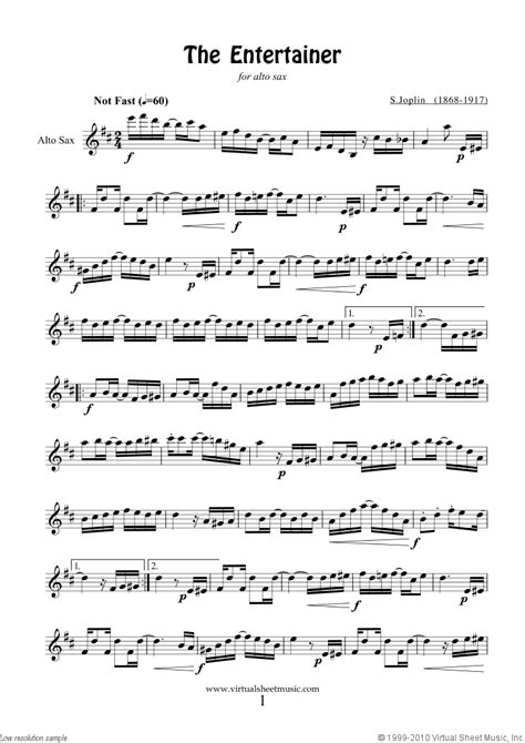 free printable sheet music alto sax free joplin the entertainer sheet music for alto