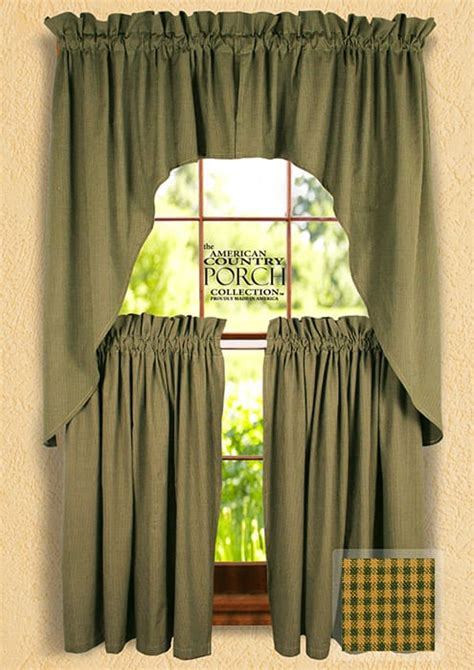 green swag curtains cottage green minicheck window curtain swags
