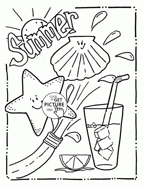 tasty and funny summer coloring page for kids seasons