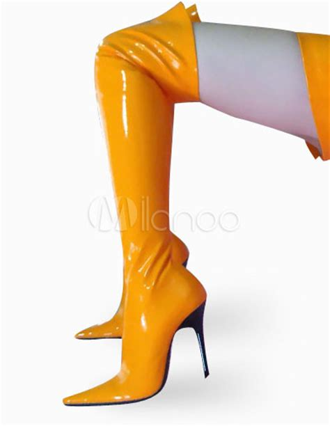 high heel yellow patent thigh high non platform boots