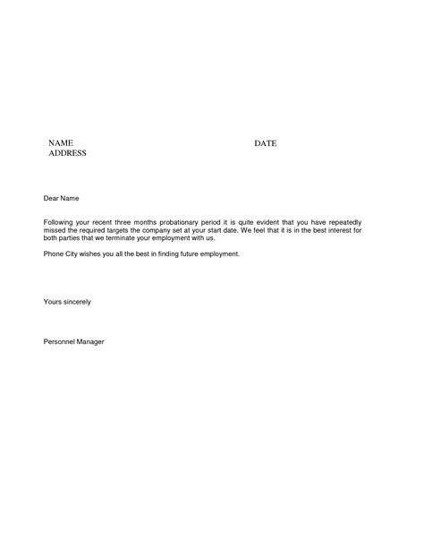 Resignation Letter Sle Probation Period Best Photos Of New Hire Probation Period Letter Employee Probation Termination Letter 90 Day