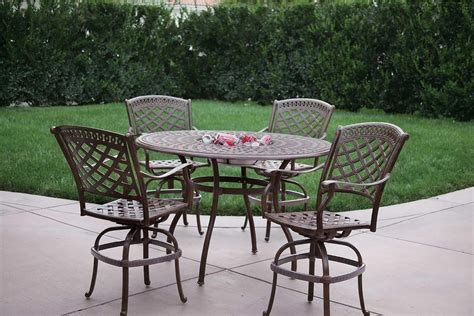 Patio Furniture Dining Set Cast Aluminum 52 Quot Round Table W Patio Furniture Inserts