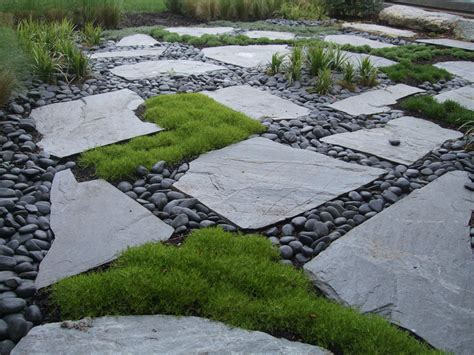 Pavers With Moss Mexican Pond Pebbles Lurvey Landscape Pebble Rock Garden Designs