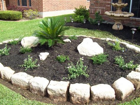 Rock Garden Bed Ideas Flower Beds With Rock Borders Home Decorating Ideas