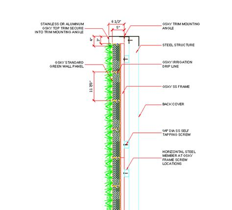 green wall section detail pro cad gsky plant systems inc living wall