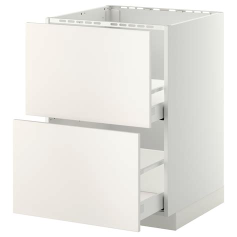 schrank 60x60 metod maximera base cab f sink 2 fronts 2 drawers white
