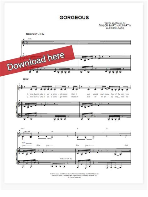 keyboard chords tutorial pdf taylor swift gorgeous sheet music piano notes chords