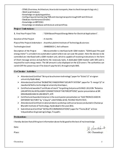 sap fresher resume 50 images sap sd resume format charandeep sap basis fresher resume sap