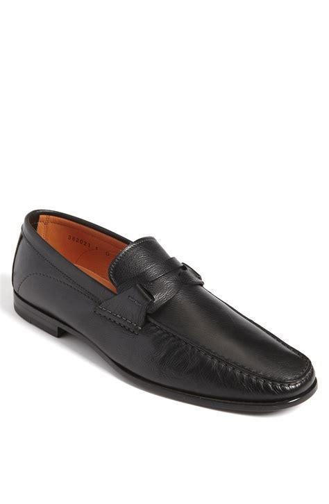 santoni loafer santoni reed loafer in black for lyst