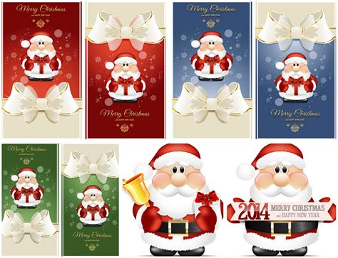 2014 vector christmas cards with santa vector graphics