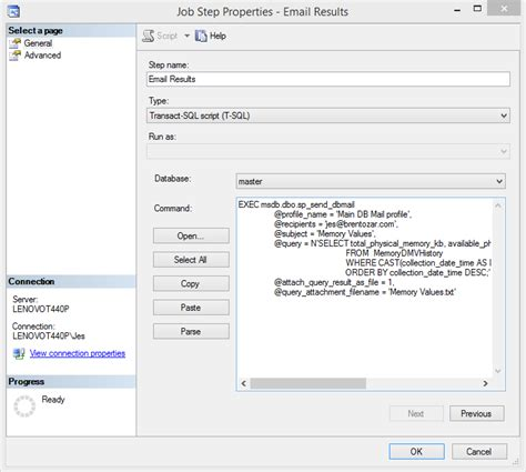 format email sql email query results using a sql server agent job brent