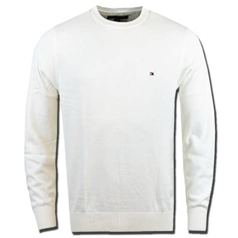 Relaxed Khaki tommy hilfiger classic crewneck white cream jumper