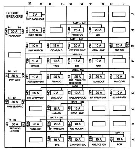 1998 Oldsmobile 88 Fuse Box Diagram Wiring Schematic