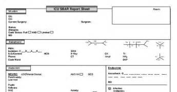 icu sbar report sheet 5 5 12 pdf nursing documentation