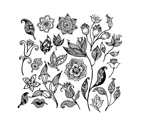 floral pattern design drawing black and white flower pattern vector free vector 4vector