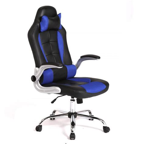 New Blue High Back Race Car Style Bucket Seat Office Desk Desk Chair For Gaming