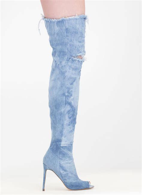 distress signal denim thigh high boots ltblue grey