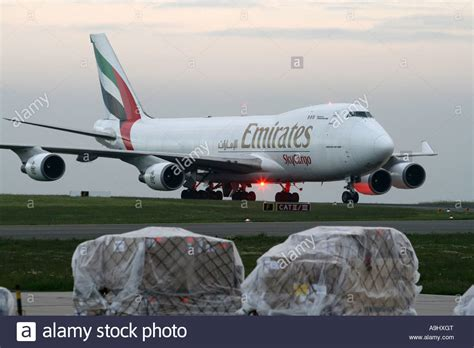 air freight aircraft boeing 747 from emirates at the frankfurt hahn stock photo royalty free