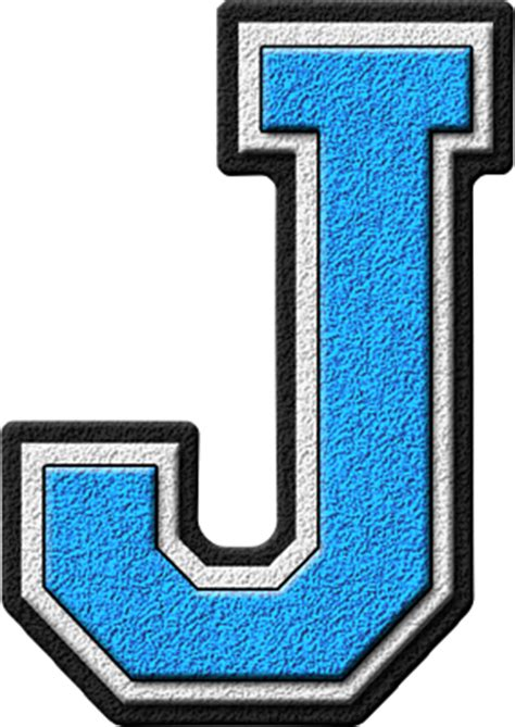 Presentation Alphabets: Light Blue Varsity Letter J