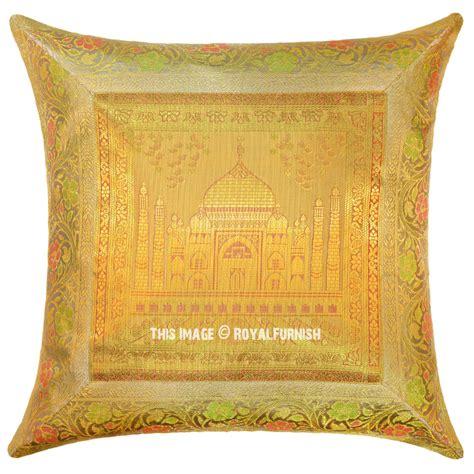 Silk Decorative Pillows Yellow Color Decorative Tajmahal Silk Brocade Throw Pillow