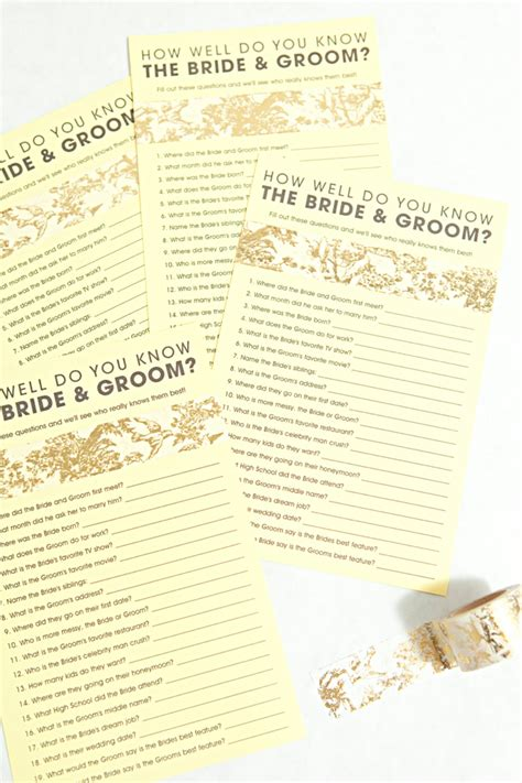wedding shower how well do the and groom each other free how well do you the groom