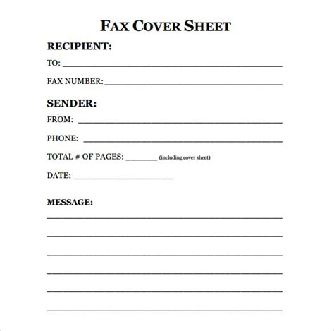 free fax cover sheet template download printable standard fax
