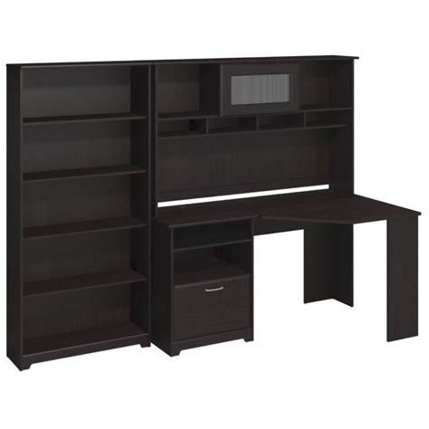 bush cabot corner desk with hutch and 5 shelf bookcase in