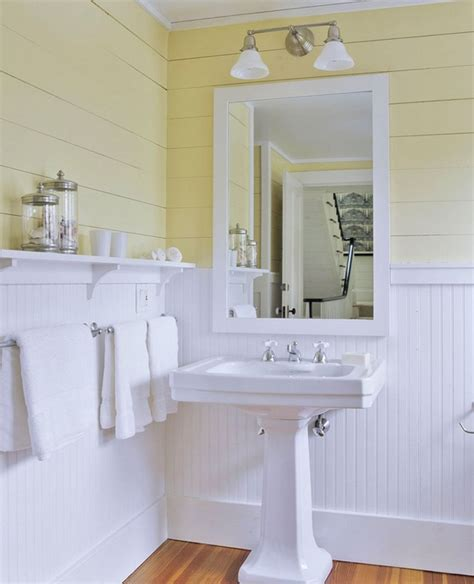 bathroom beadboard yellow bathrooms ideas inspiration
