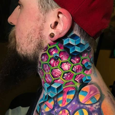 geometric space neck tattoo best tattoo design ideas
