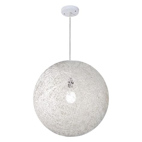 Bazz Vibe Collection 1 Light White Round Hanging Pendant Circular Pendant Light