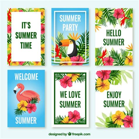 tropical cards pack of tropical cards with flowers and birds vector