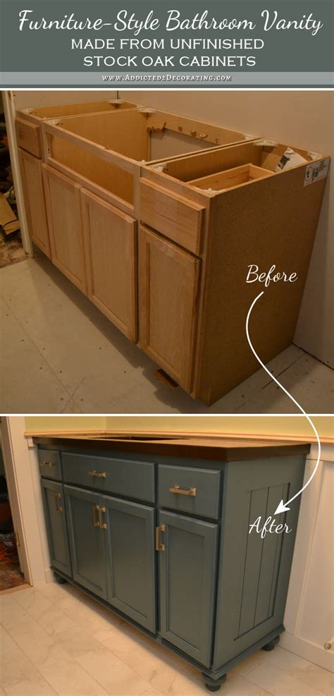 teal furniture style vanity made from stock cabinets