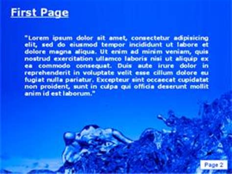 theme ppt water burst of water powerpoint template